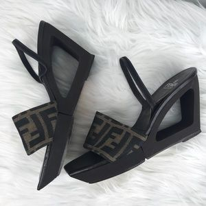 Vintage Fendi Zucca Cut Out Wedge Sling Back Heels